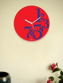 Red Side Numbers Wall Clock - Zeeshaan 55114