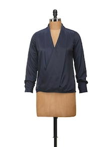 Chic Navy Top With Wrapped Front - Harpa
