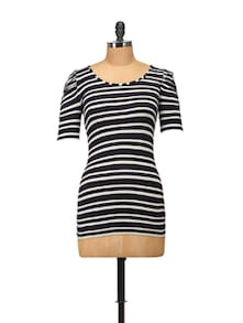 Navy & White Striped Long Top - Harpa