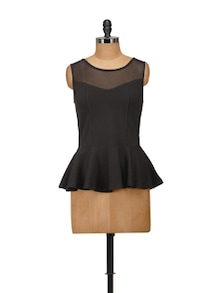 Elegant Black Peplum Top - Harpa