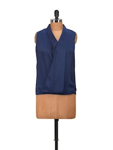 Navy Wrapped Front Top - Harpa