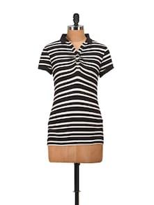 Collared Black & White Striped Top - Harpa