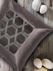 Geometrical Print Grey Cushion Cover - HOUSE THIS
