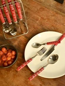 Engraved Red Cutlery Set- 25 Piece - Elegante