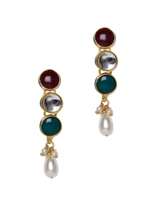Kundan And Stone Work Earrings - Aradhyaa Jewel Arts