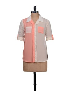 Dual Shade Front Pocket Georgette Shirt - Meee
