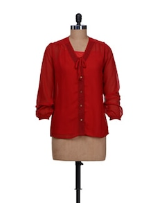 Red Front Button Shirt With Inner - Meee