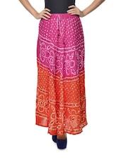 Ethnic Pink & Orange Jaipuri Bandhej Long Skirt - Ruhaan's
