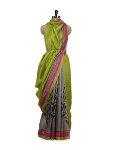 Designer Grey & Green Printed Saree - Awesome