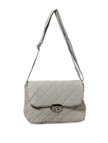 Twisted Hook And Eye And Zipper Fastening White Handbag - Thegudlook