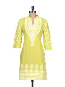 Printed Lime Kurta - Global Desi