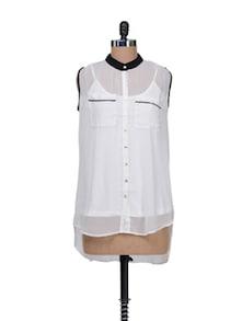 Sheer White Shirt With Matching  Slip - AND