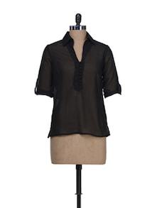 Sheer Black Shirt Style Top - Thegudlook