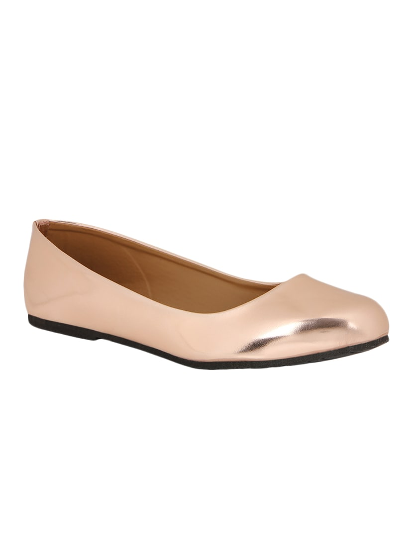 4a3c3ba51d82 Buy Metallic Rose Gold Ballet Flats for Women from Chalk Studio for ...