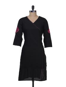 Wrap Neck Kurta With Embroidered Sleeves - Tulsattva