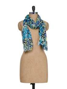 Leopard Print Scarf In Bright Blue - J STYLE