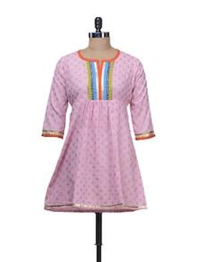 Ethnic Pink Kurti With Colorful Yoke - Free Living