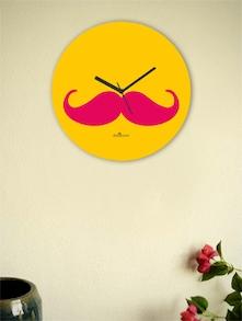 Pink And Yellow Moustache Wall Clock - Zeeshaan