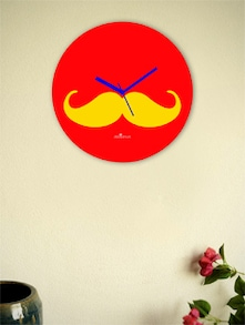 Yellow And Red Moustache Wall Clock - Zeeshaan