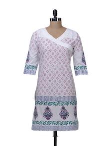 White & Green Angrakha Style Kurta - Paislei