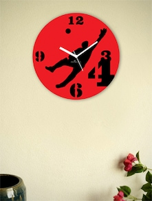 Red And Black Cricket's Front Foot Wall Clock - Zeeshaan