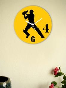Yellow And Black Batsman Wall Clock - Zeeshaan