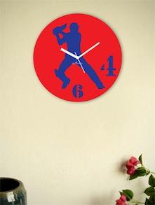 Red And Blue Batsman Wall Clock - Zeeshaan