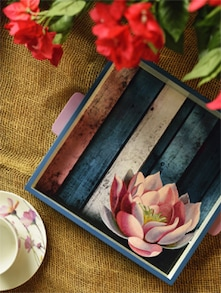 Blue Wooden Lotus Square Tray - Small - ART N LIGHT