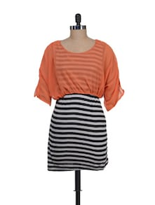 Striped Monochrome Dress With An Orange Top - Liebemode