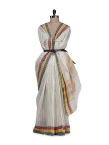 Pin Striped Cream Saree With Tri Coloured Border - Aadrika Saree