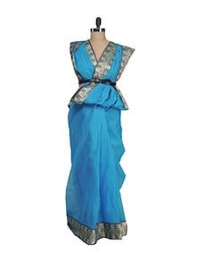 Turquoise Saree In Contrasting Border - Aadrika Saree