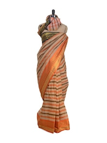 Striped Orange Saree With Gold Weave Border - Aadrika Saree
