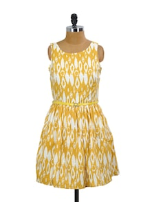 Yellow And White Classy Dress - Mishka