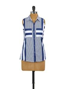 White And Blue Summer Shirt - Mishka