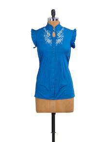 Royal Blue Ruffled Top - Mishka