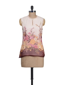 Multicolored Printed Sleeveless Top - Guster Ve..