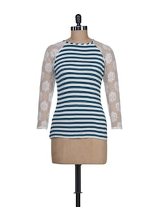 Blue & White Striped Top With Lace Sleeves - Guster Ve..