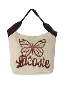 Stylish White & Brown Butterfly Handbag - Samsara