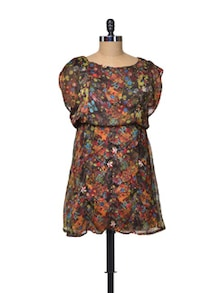 Floral Print Dress With Short Batwing Sleeves - La Zoire