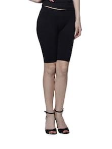 Thigh Shaping Knee Length Black Shorts - Cloe