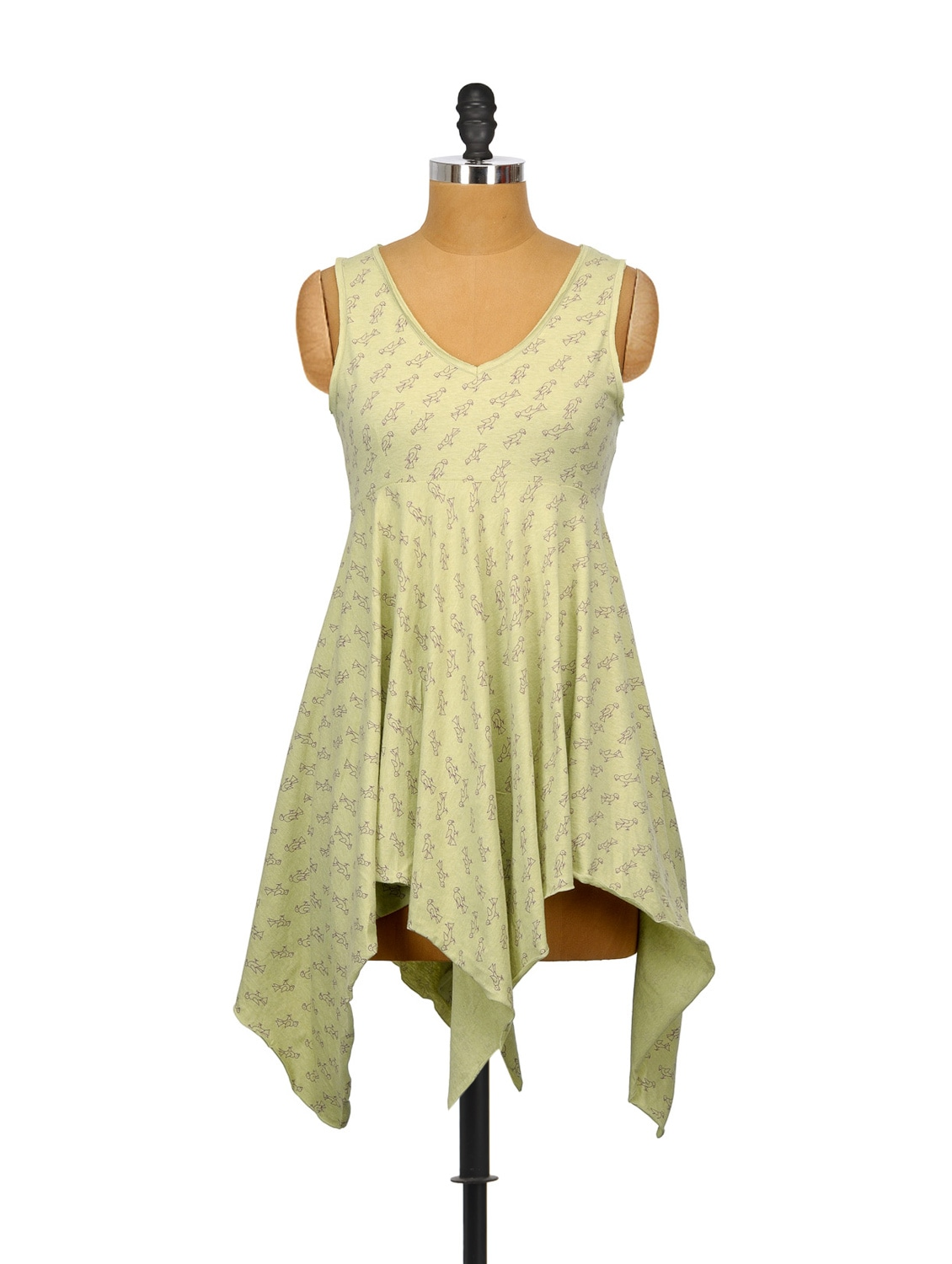 Lime Parrot Print Asymmetrical Dress - Indricka