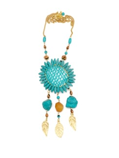 Beaded Turquoise Necklace With Metallic Gold Leaves - Accessory Bug