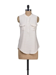All White Polyester Top - Silk Weavers