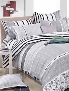 Grey And White King Size Double Bed Sheet - Four Seasons By Spread