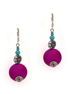 Purple Earrings With Silver Flower - Eesha Zaveri; Jewellery By Design