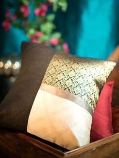Black And Off-White Cushion Cover With Gold Brocade Panel - Nakalchee Bandar