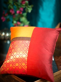 Patchwork Mustard And Rust Cushion Cover With Pink And Gold Brocade Panel - Nakalchee Bandar