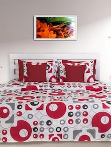 Red & White Geometric Double Comforter - HOUSE THIS