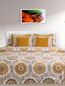 Beige & Ochre Printed Double Comforter - HOUSE THIS