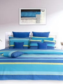 Stylish Blue & Yellow Double Bedcover - HOUSE THIS